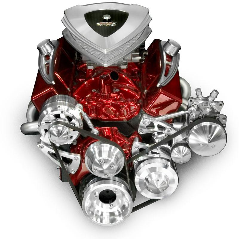 March Chevy Small Block Long Water Pump Serpentine Kit w/ Optional Drivers Side A/C Compressor
