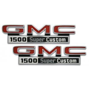Front Fender Emblems - 'GMC 1500 Super Custom' - 67-72 Chevy Pickup
